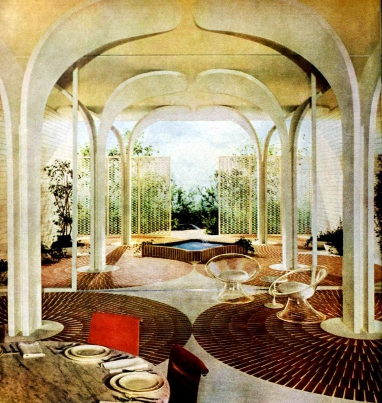 Unique arched covered luxurious backyard area from 1960