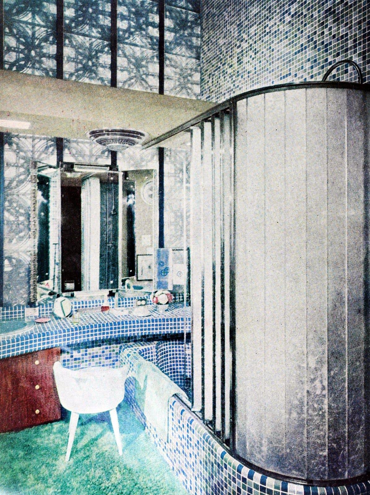 Unique bath-shower enclosure with mosaic tile (1960)
