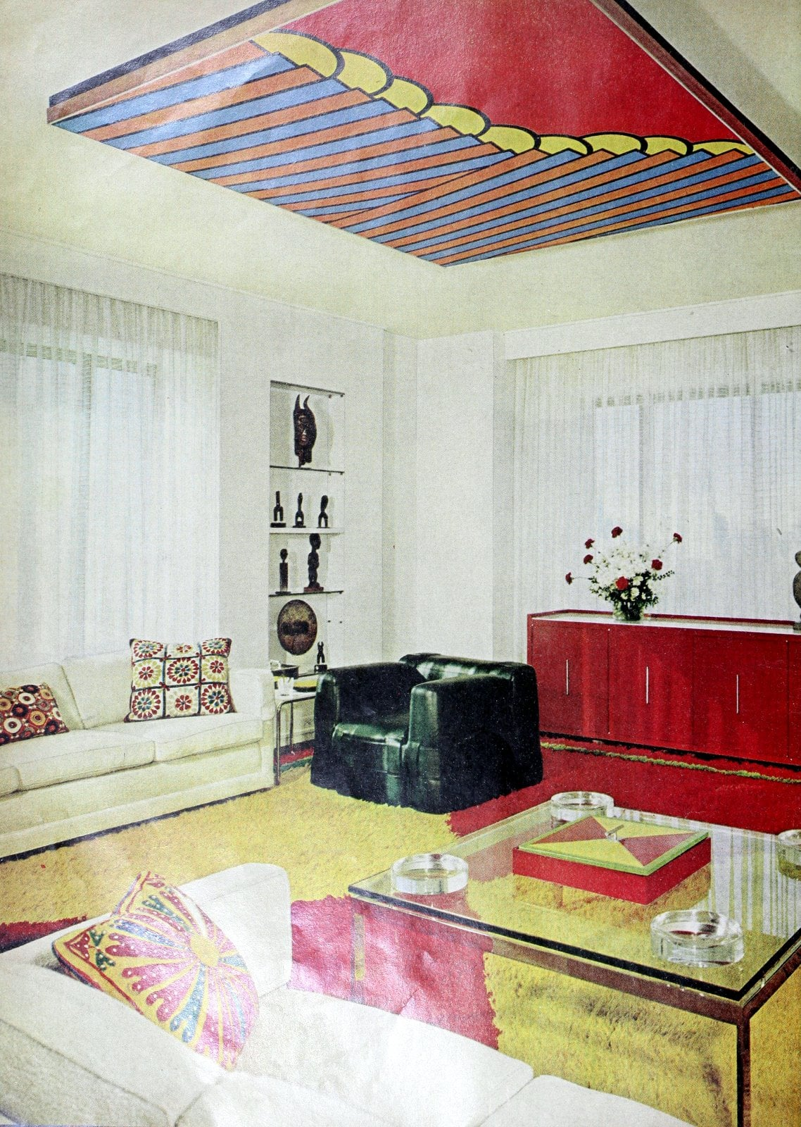 Unique ceiling art in this bright living room (1969)