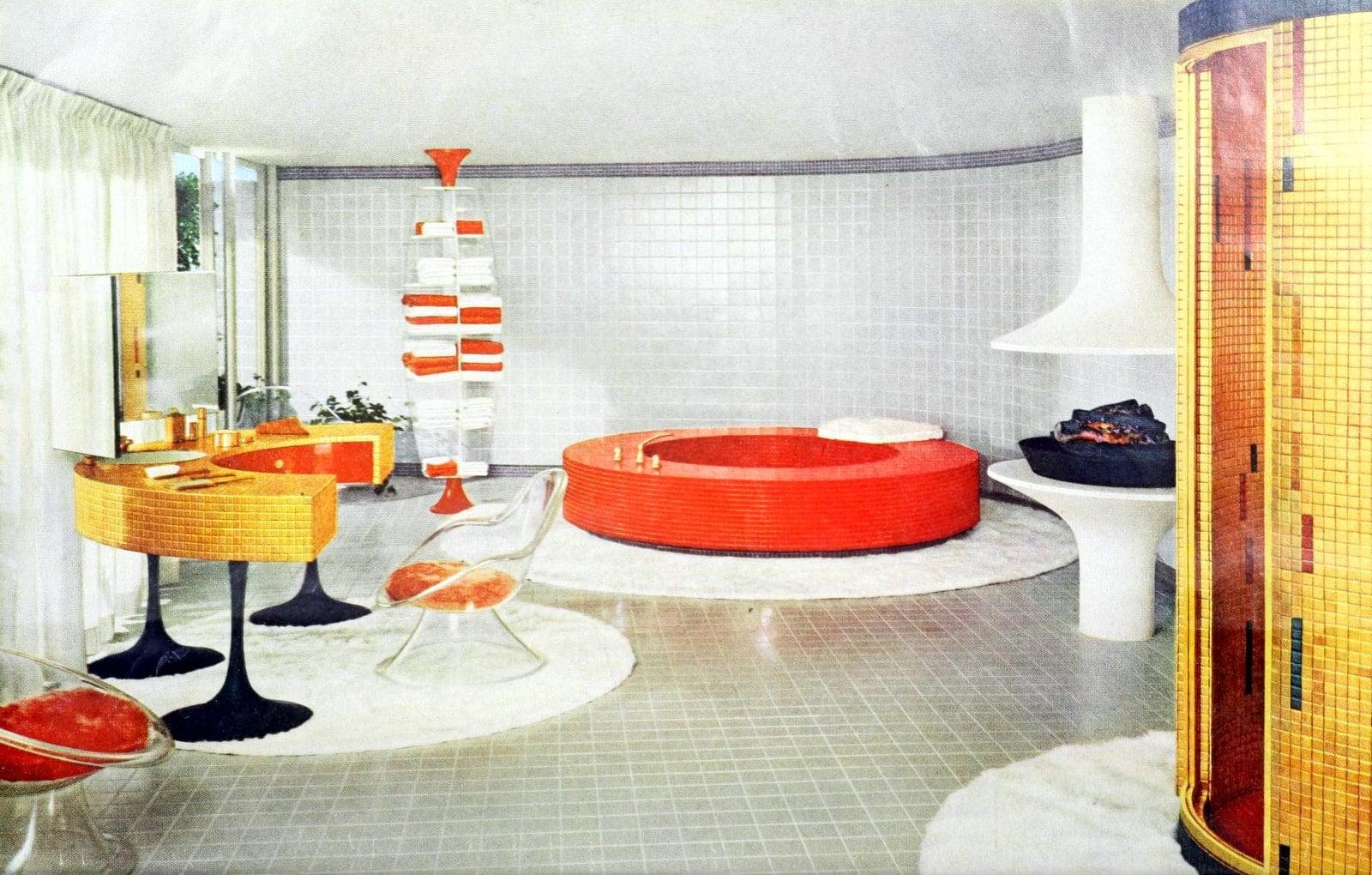 Unique vintage bathroom design with round orange bathtub (1961)