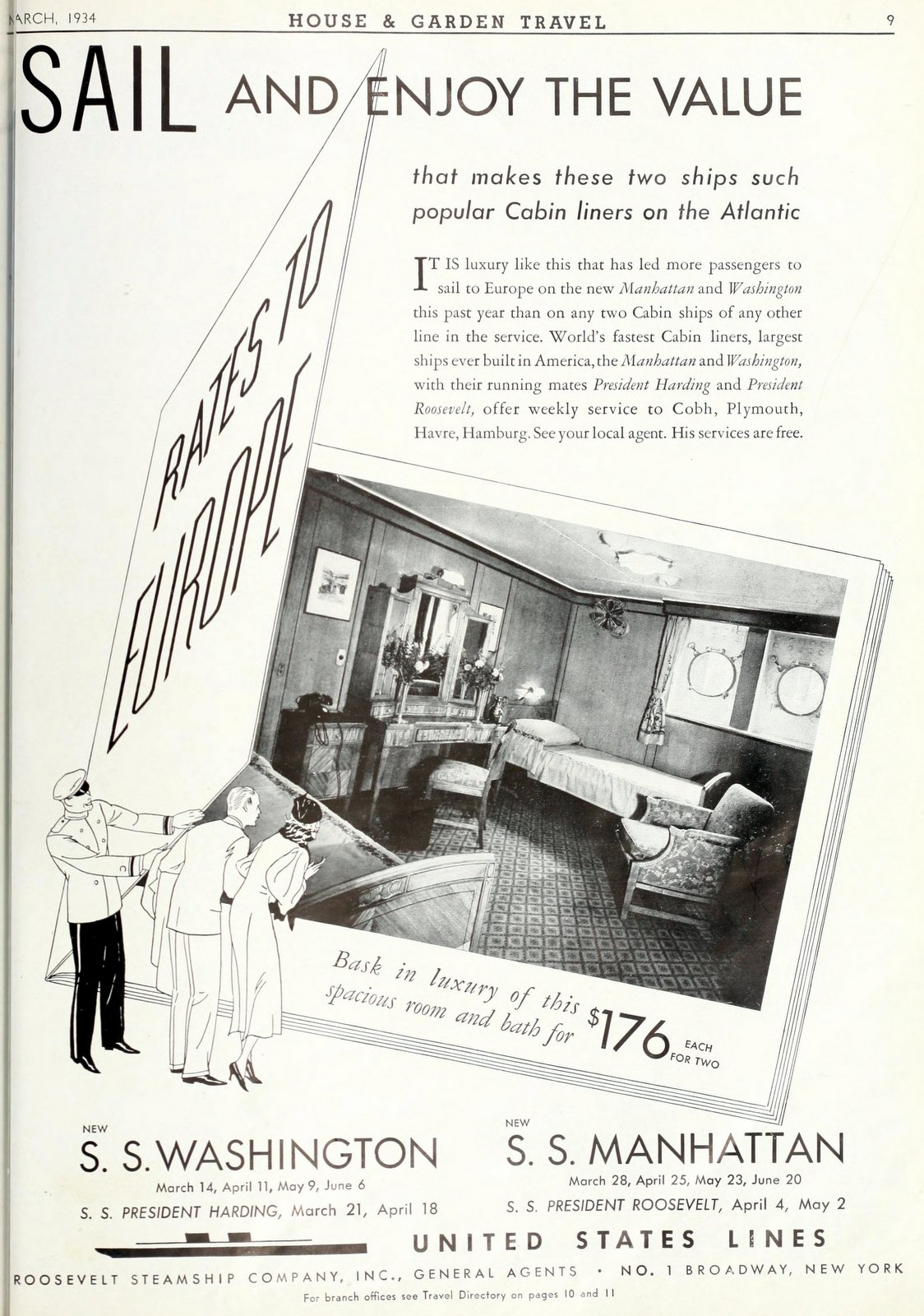 United States Lines - Vintage cruise ship cabins in 1934 (1)