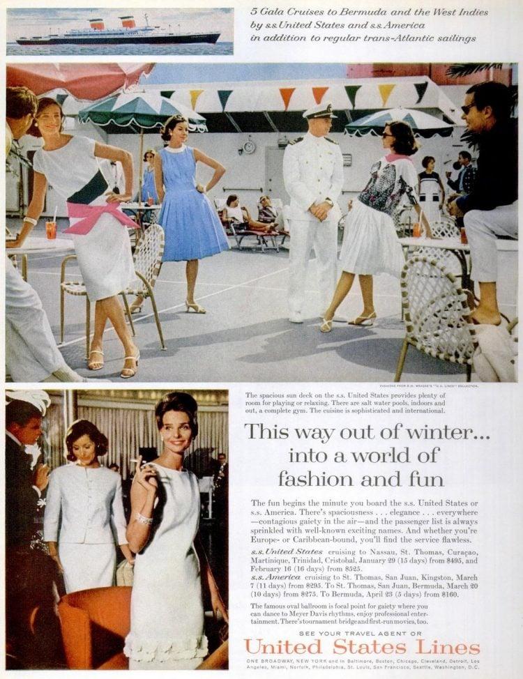 United States Lines Vintage cruises to Bermuda and West Indies 1963