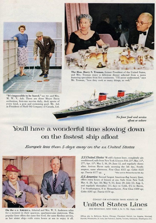 United States Lines retro cruises featuring Truman to Europe