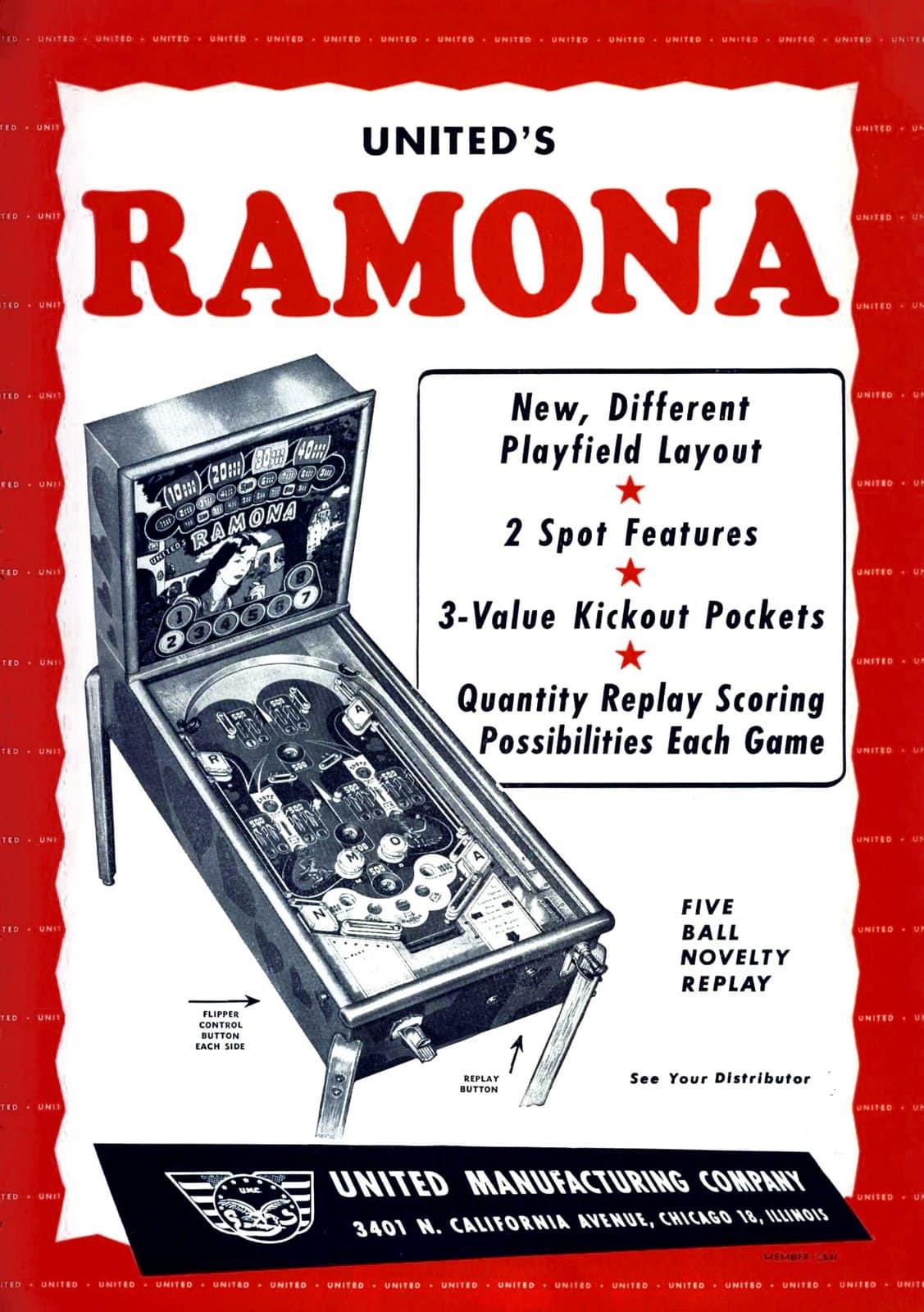 United's Ramona vintage pinball game (1949)