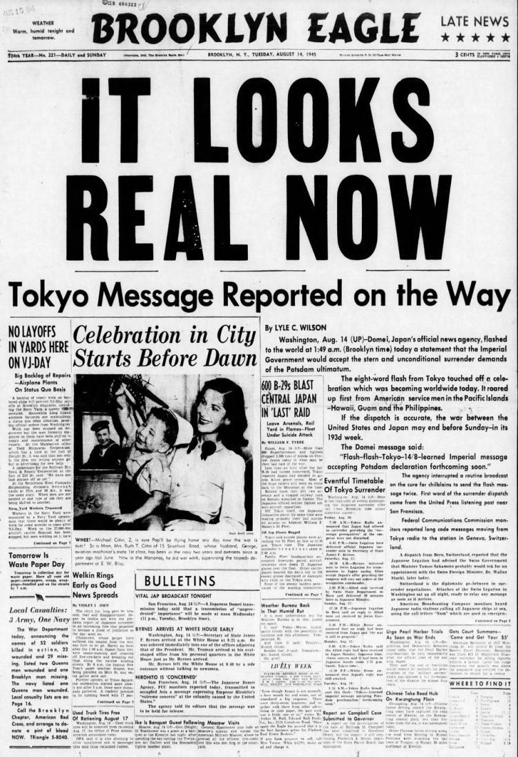 VJ Day - Brooklyn Eagle NY - August 14 1945