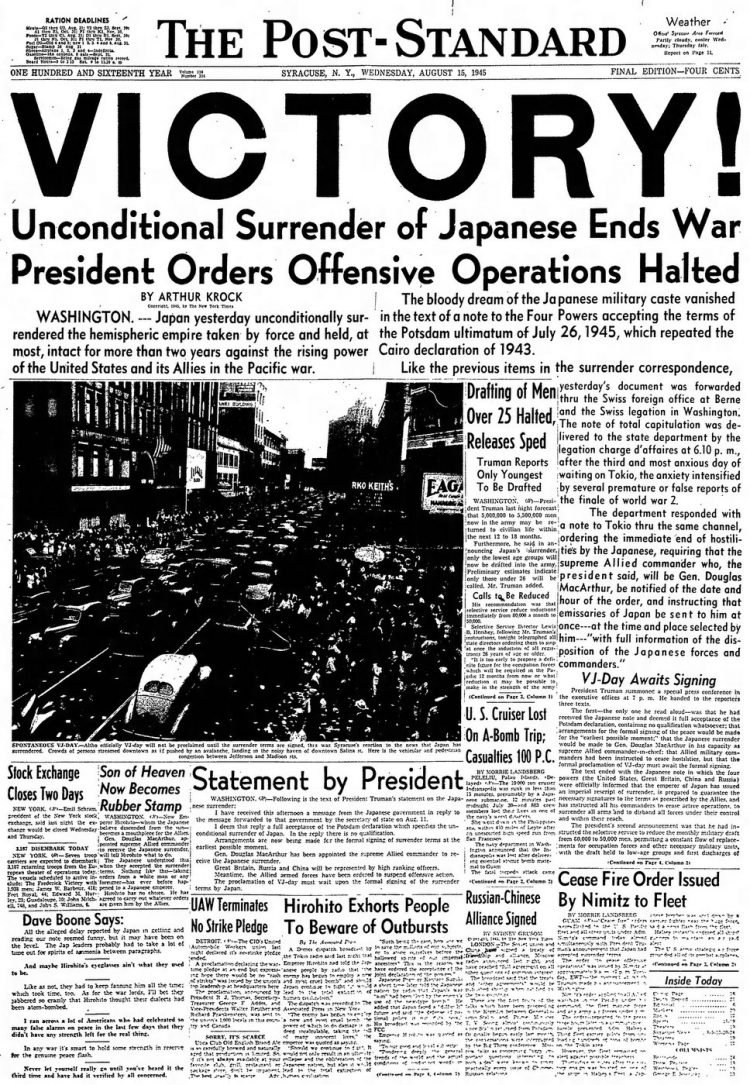 The Post-Standard (Syracuse, New York)15 Aug 1945