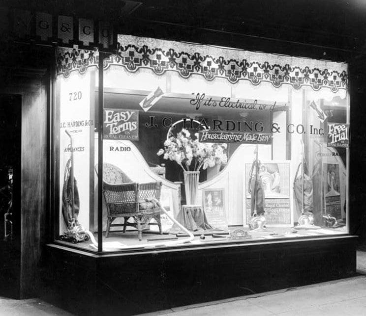 Vacuum cleaners for sale in c1910s - J C Harding Store in Washington DC