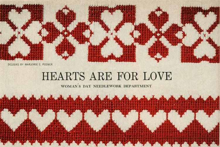 Valentine's day heart cross-stitch ideas from 1955 (1)