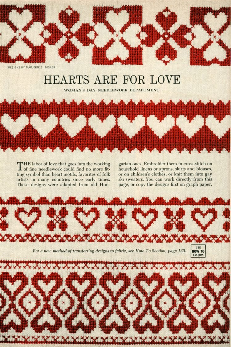 Valentine's day heart cross-stitch ideas from 1955 (2)