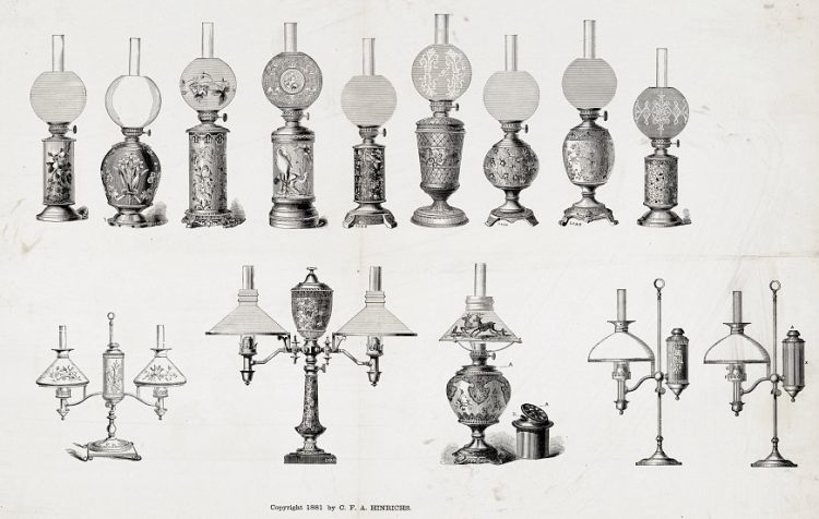 Various designs of student kerosene and oil lamps 1881 - LOC