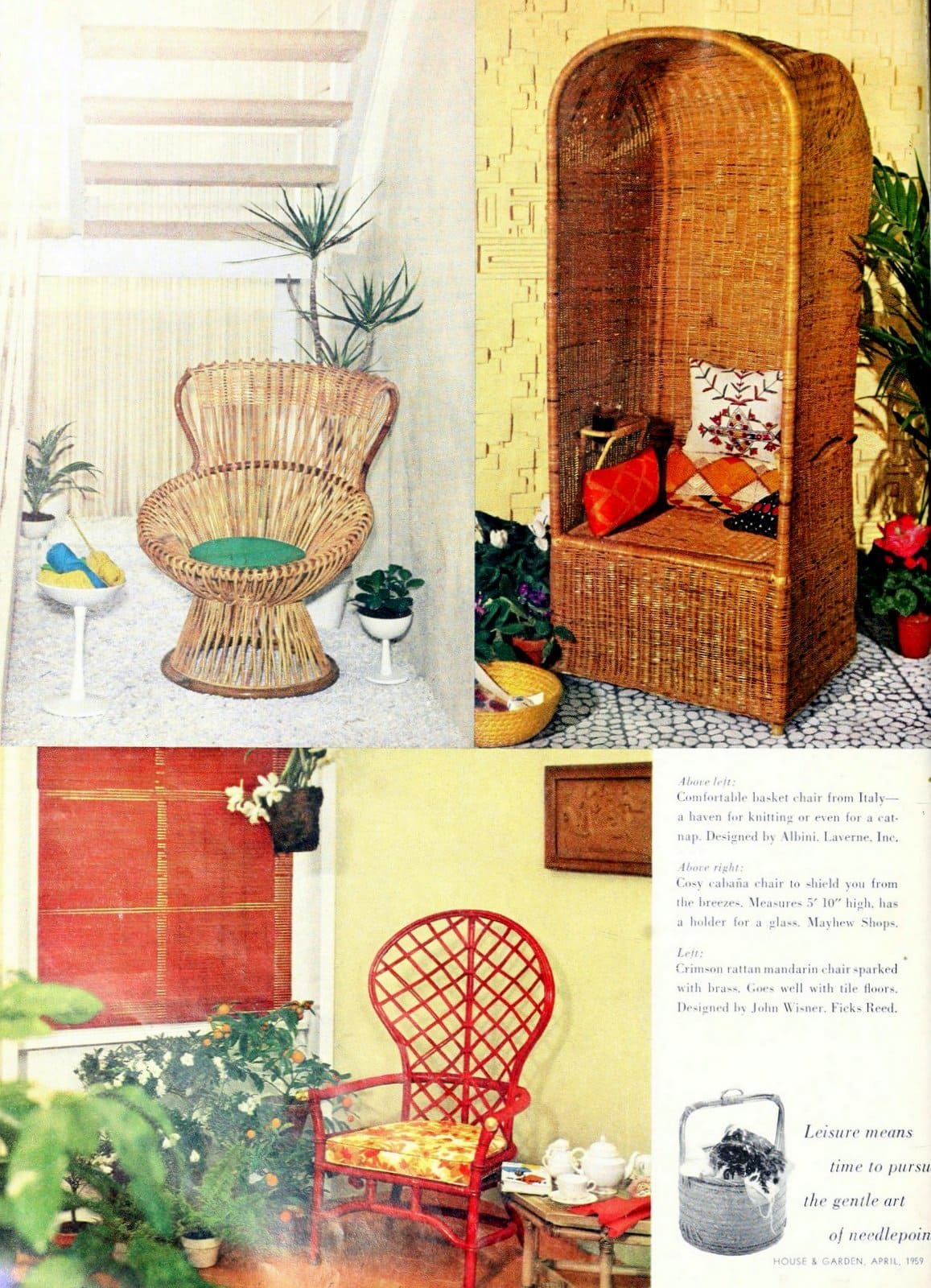 Various vintage wicker chair styles from 1960