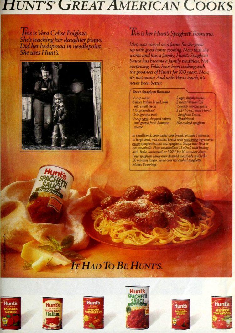 Vera's Spaghetti Romano with meatballs 1988