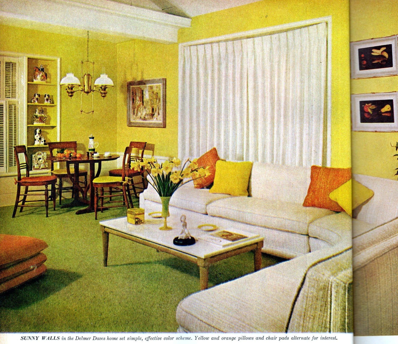 Vibrant yellow living room with orange and green accents and a white sofa (1959)