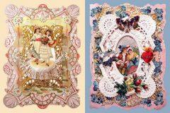 Victorian Valentine's cards elegant, embossed embellished