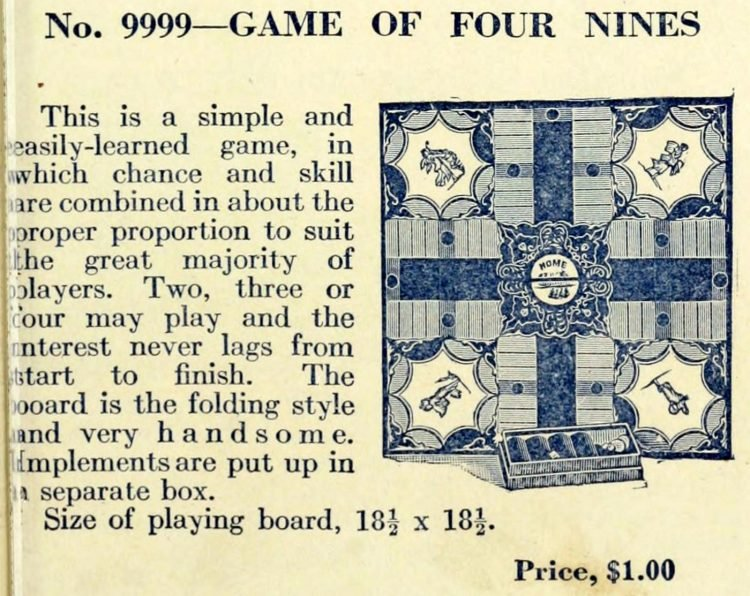 Victorian board games - The Game of Four Nines - Early Parcheesi