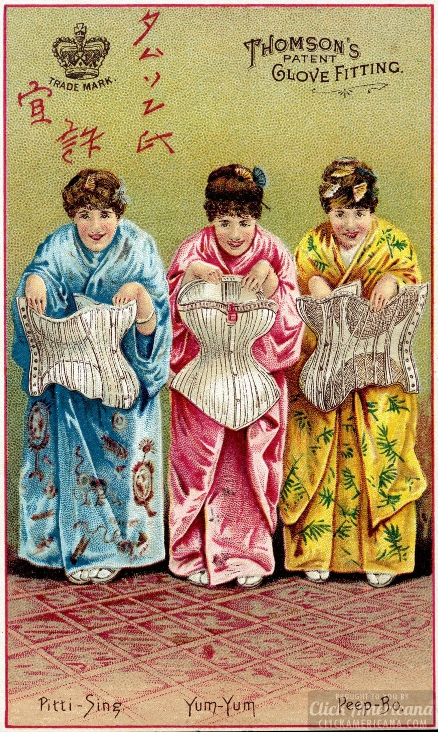 Victorian corsets - Thomson's patent glove fitting. Pitti-Sing, Yum-Yum, Peep-Bo
