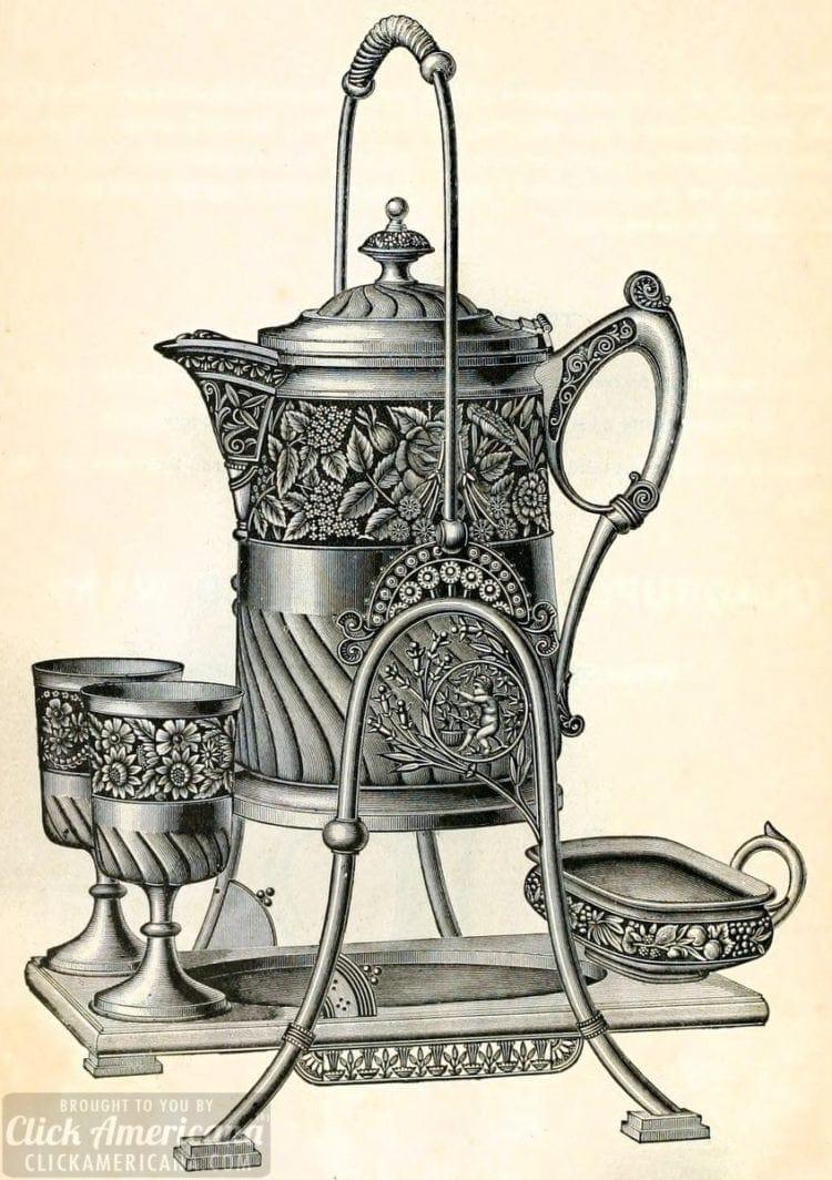 Victorian embossed old silver tilting pitcher set 1889