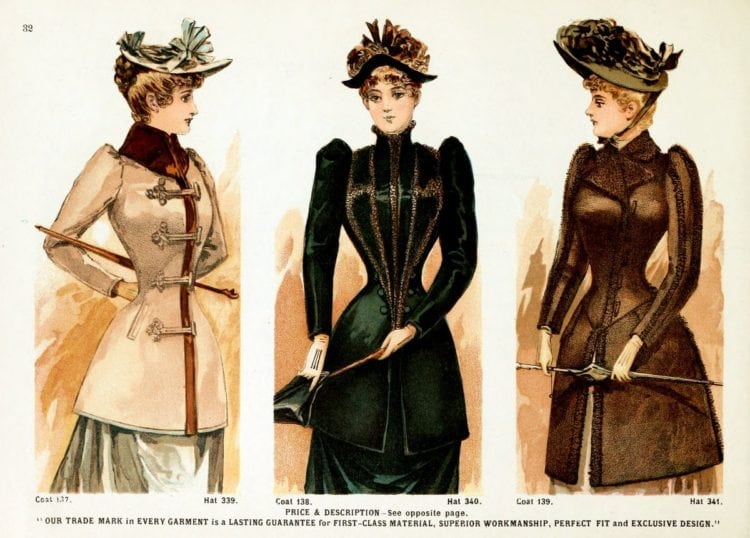 Victorian clothing for women - Jackets and velvet hats
