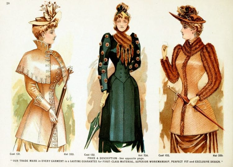 Victorian clothing for women - Jackets and a coat, plus felt hats and a velvet toque