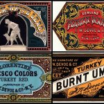 Victorian graphic design Stylized paint labels