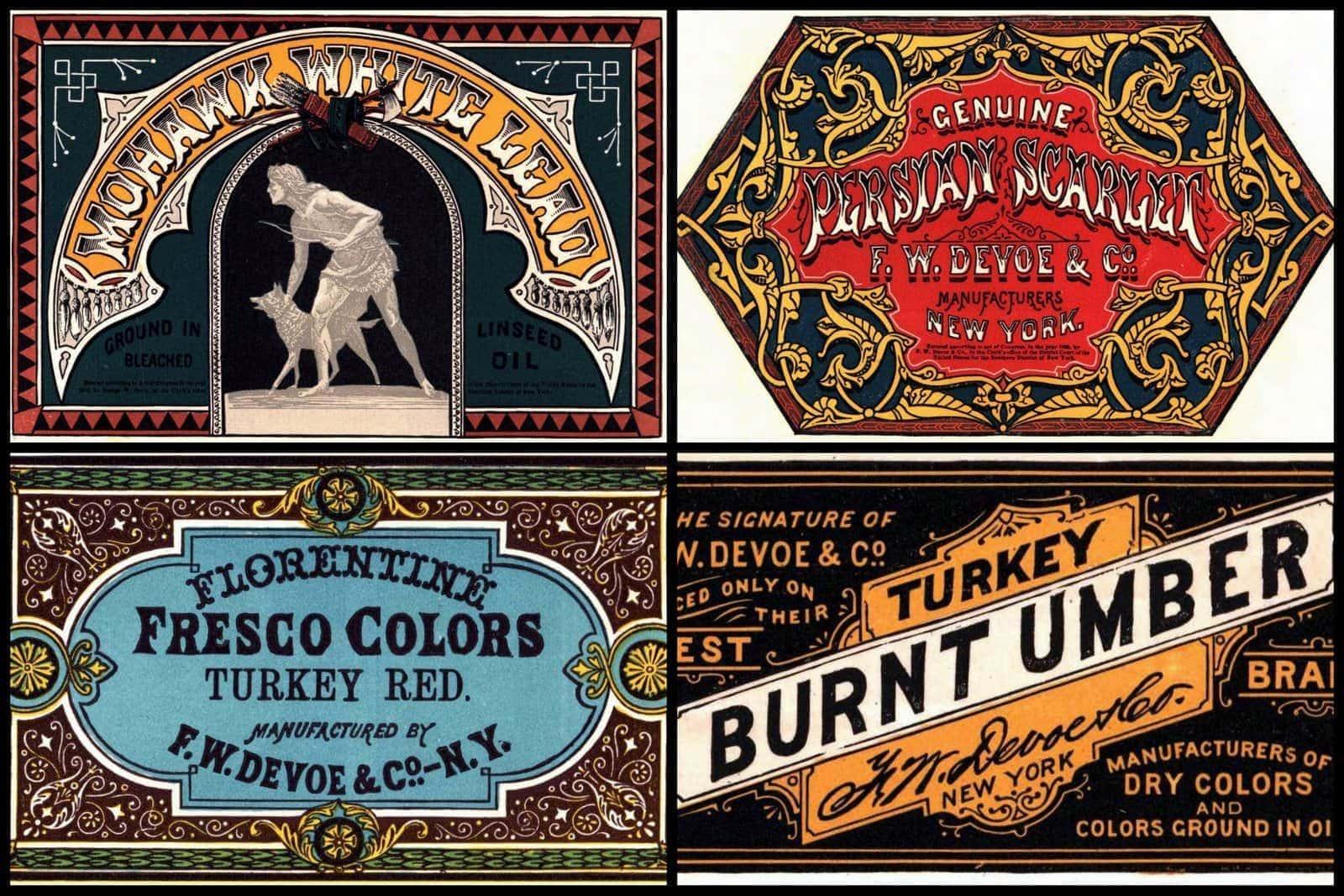 Victorian graphic design Stylized paint labels