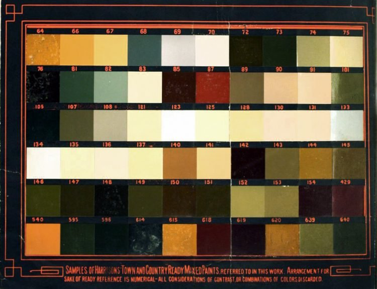 Victorian house paint color sample card from 1884