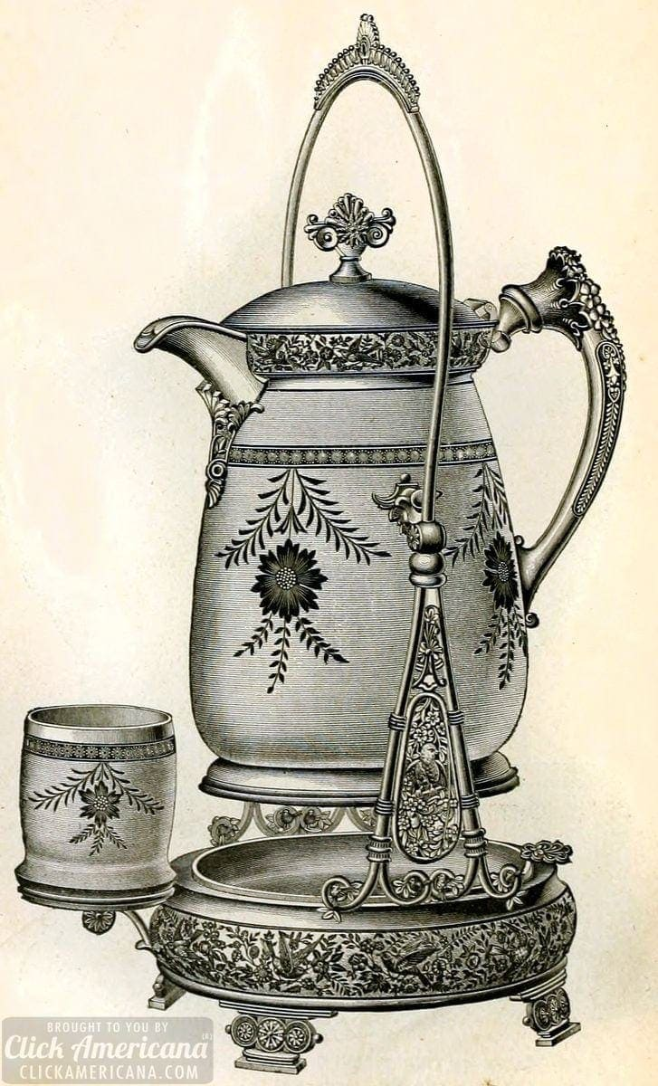 Victorian tilting water set in silver