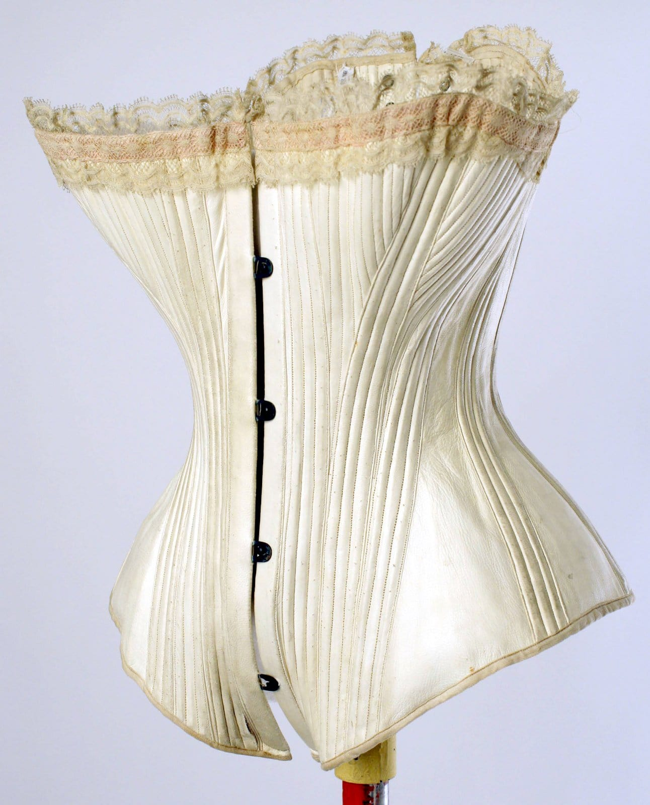 Victorian white leather corset from the 1880s