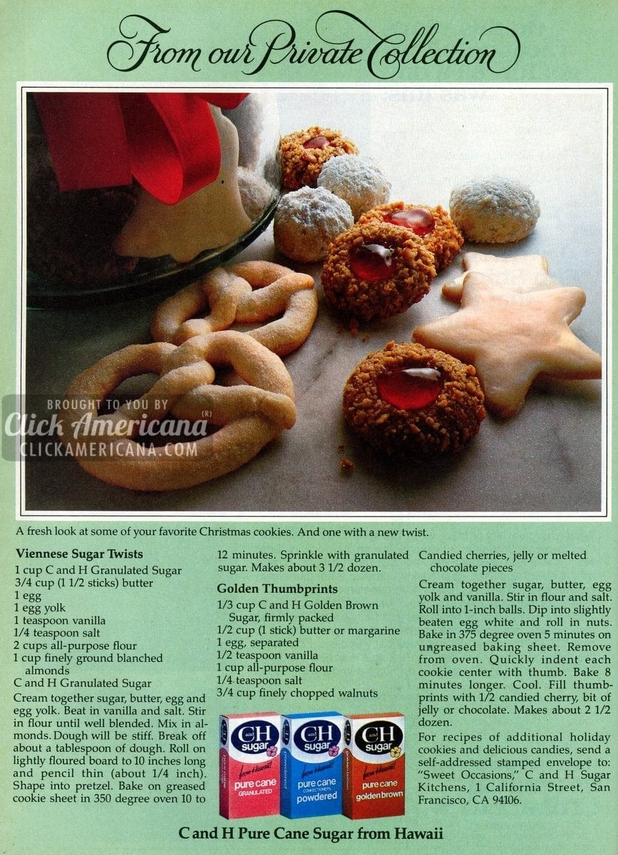 Viennese Sugar Twists & Golden Thumbprint cookies (1981)