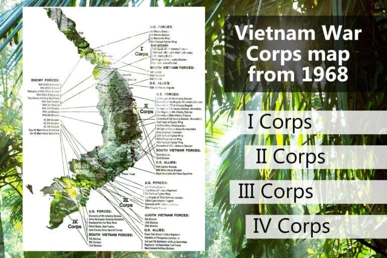 Vietnam War map: Corps to corps (1968) - Click Americana