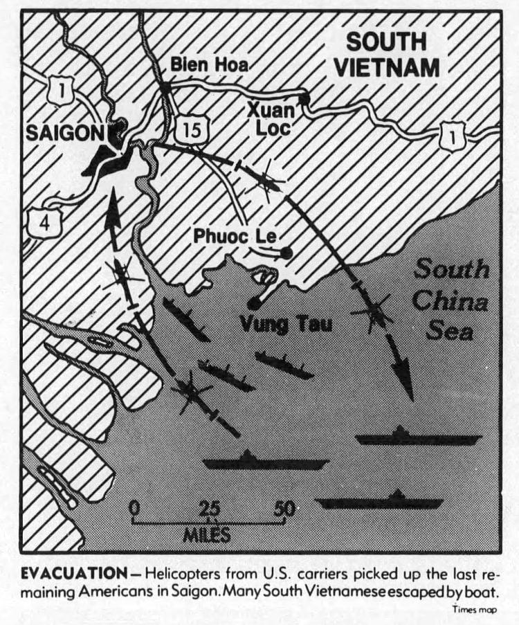 Vietnam evacuation map - 1975