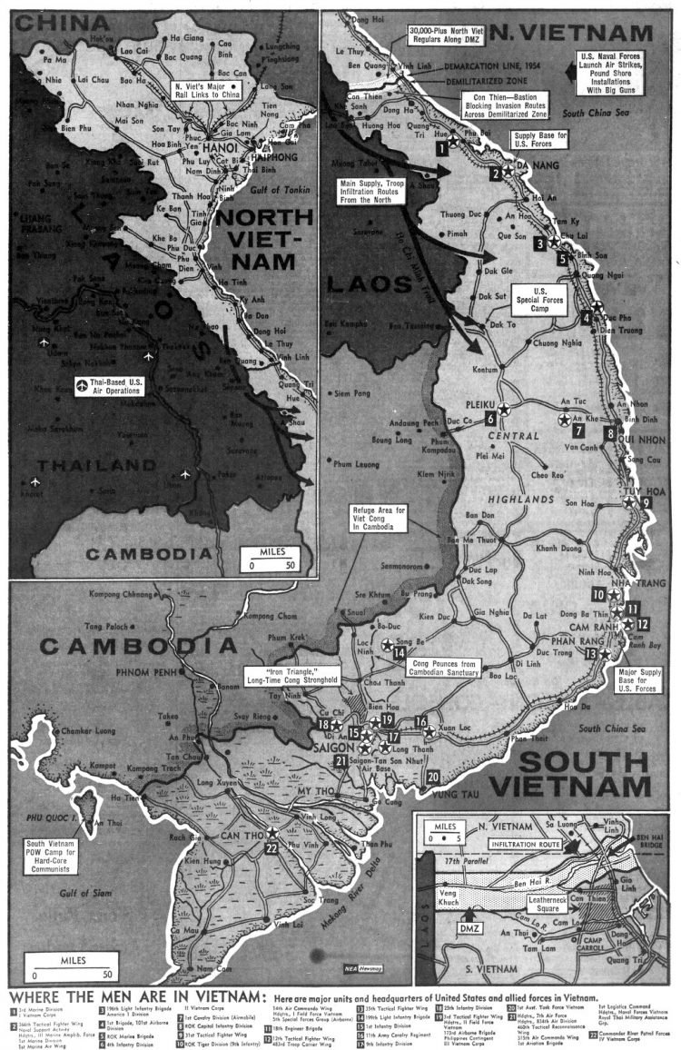 Vietnam map, published on April 7, 1968