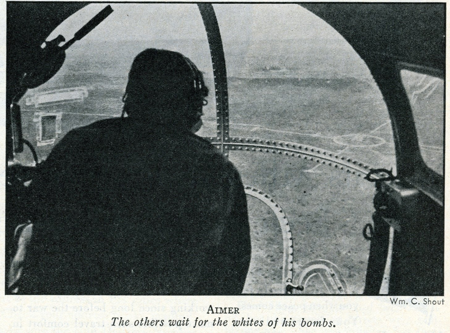 View from front of a B-17 Flying Fortress planes (1943)