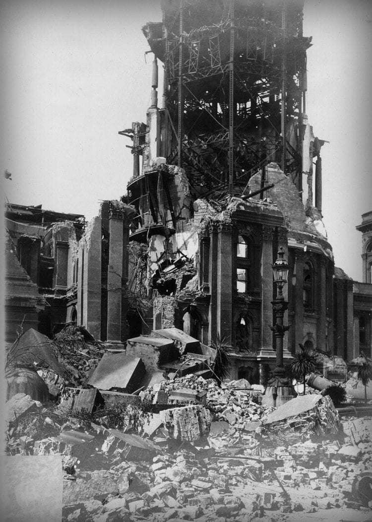 View of the ruined tower of the City Hall. Damage due to earthquake alone - US Archives