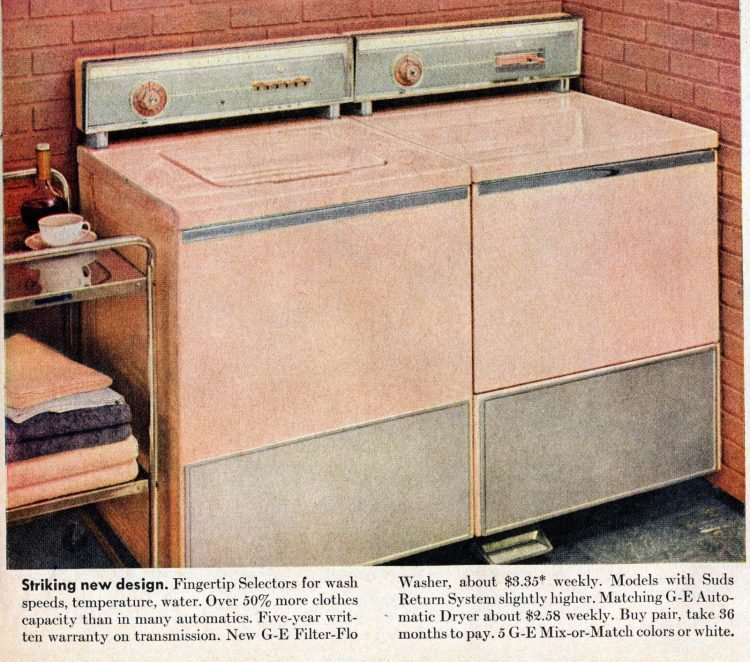 Vinage laundry - Striking new GE washing machine & dryer design (1956)