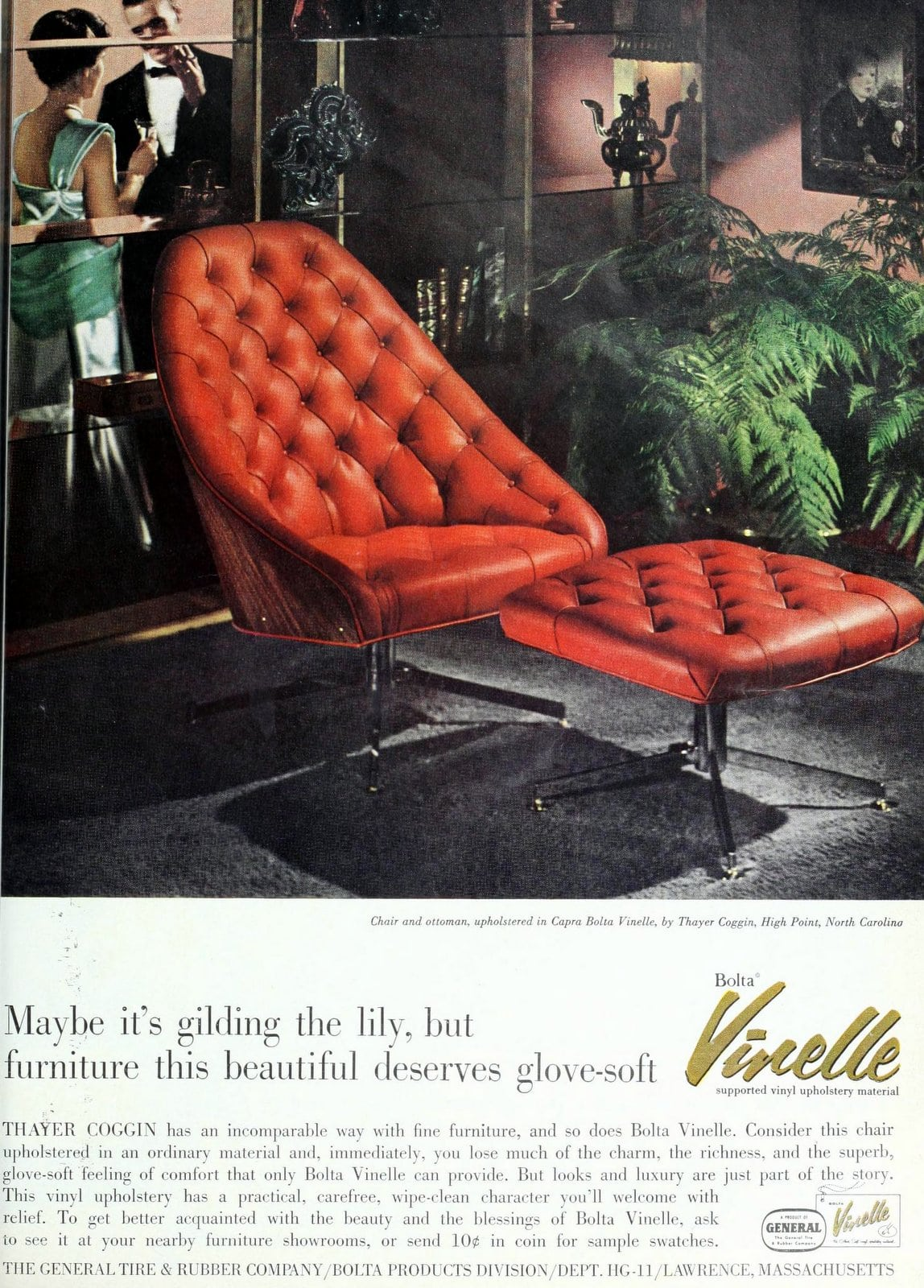 Vinelle vinyl chair and ottoman - Vintage home furnishings from 1961