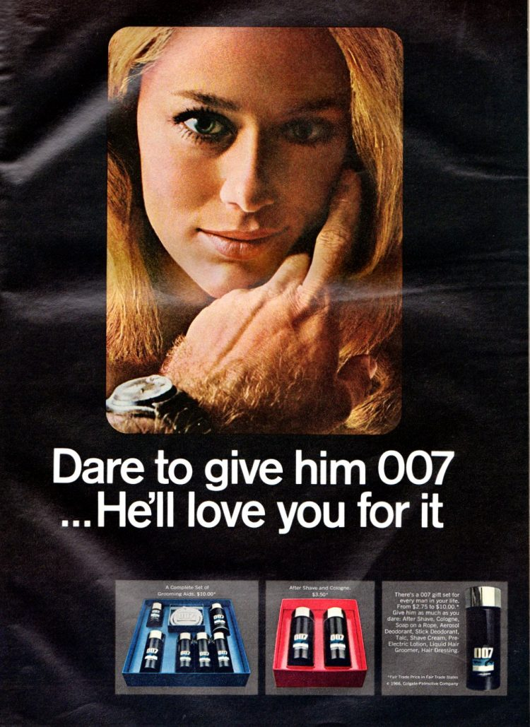 Vintage 007 cosmetic gift sets from 1966