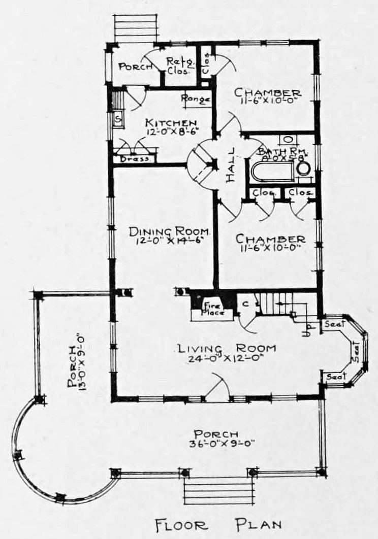 Vintage 1910 cottage home plan - Number 973