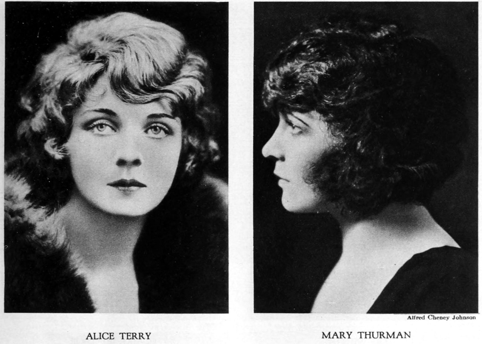 Vintage 1920s hairstyles - Alice Terry and Mary Thurman with bob haircuts