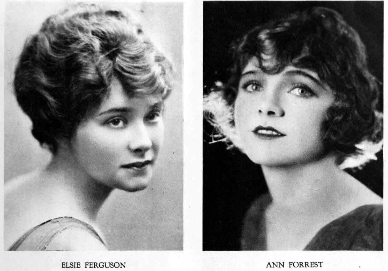 Vintage 1920s hairstyles - Bobbed hair on Elsie Ferguson and Ann Forrest