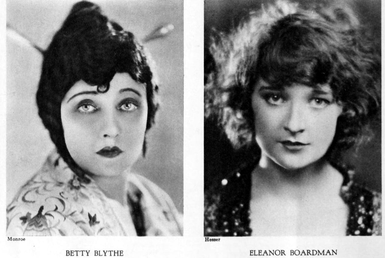 Vintage 1920s hairstyles for women - actresses Betty Blythe and Eleanor Boardman