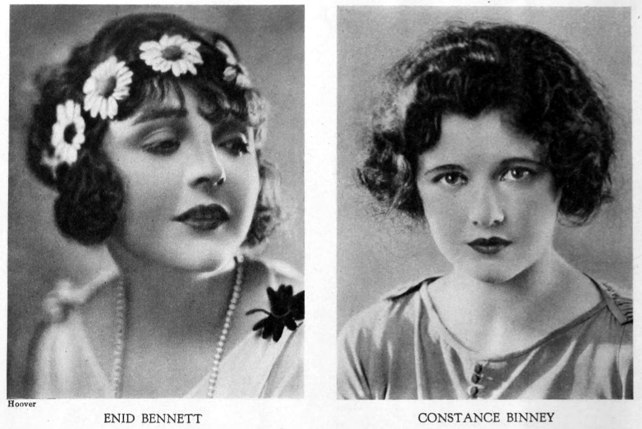 Vintage 1920s hairstyles for women - actresses Enid Bennett and Constance Binney