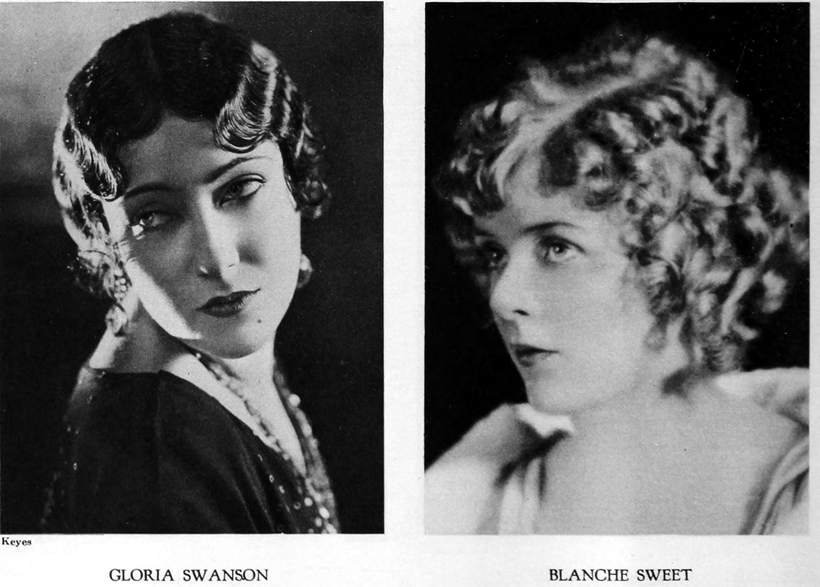 Vintage 1920s hairstyles for women - actresses Gloria Swanson and Blanche Sweet