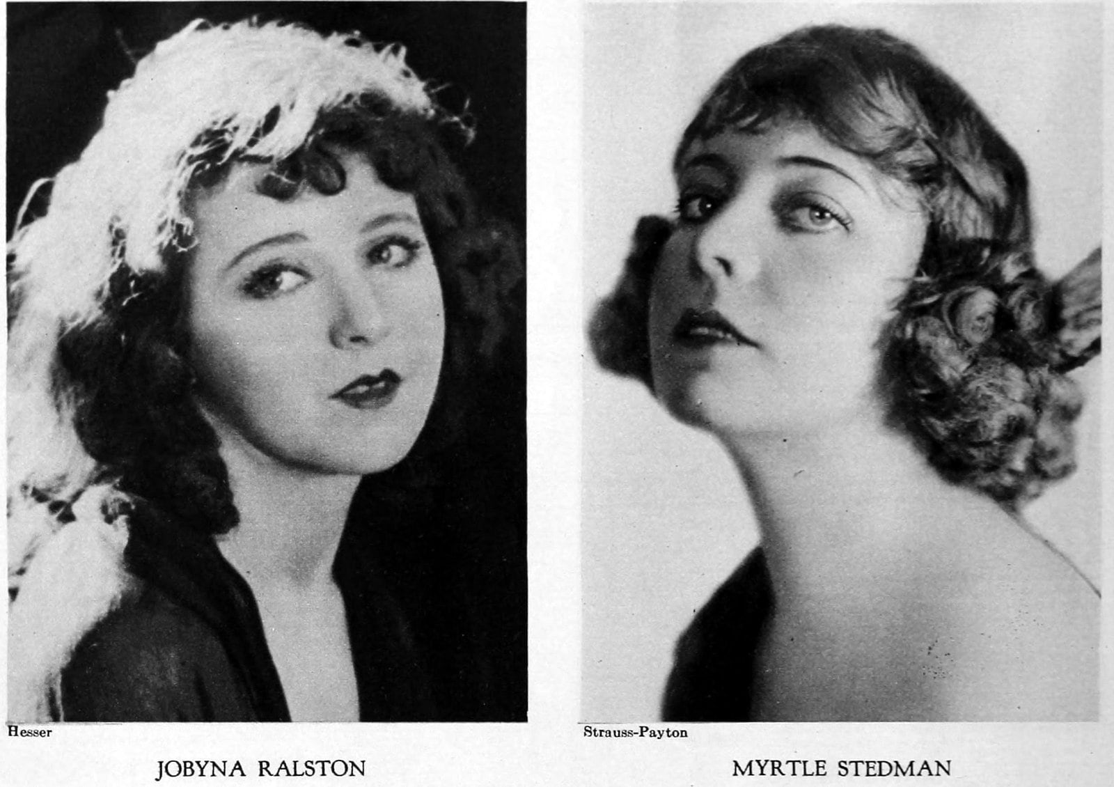 Vintage 1920s hairstyles for women - actresses Jobyna Ralston and Myrtle Steadman