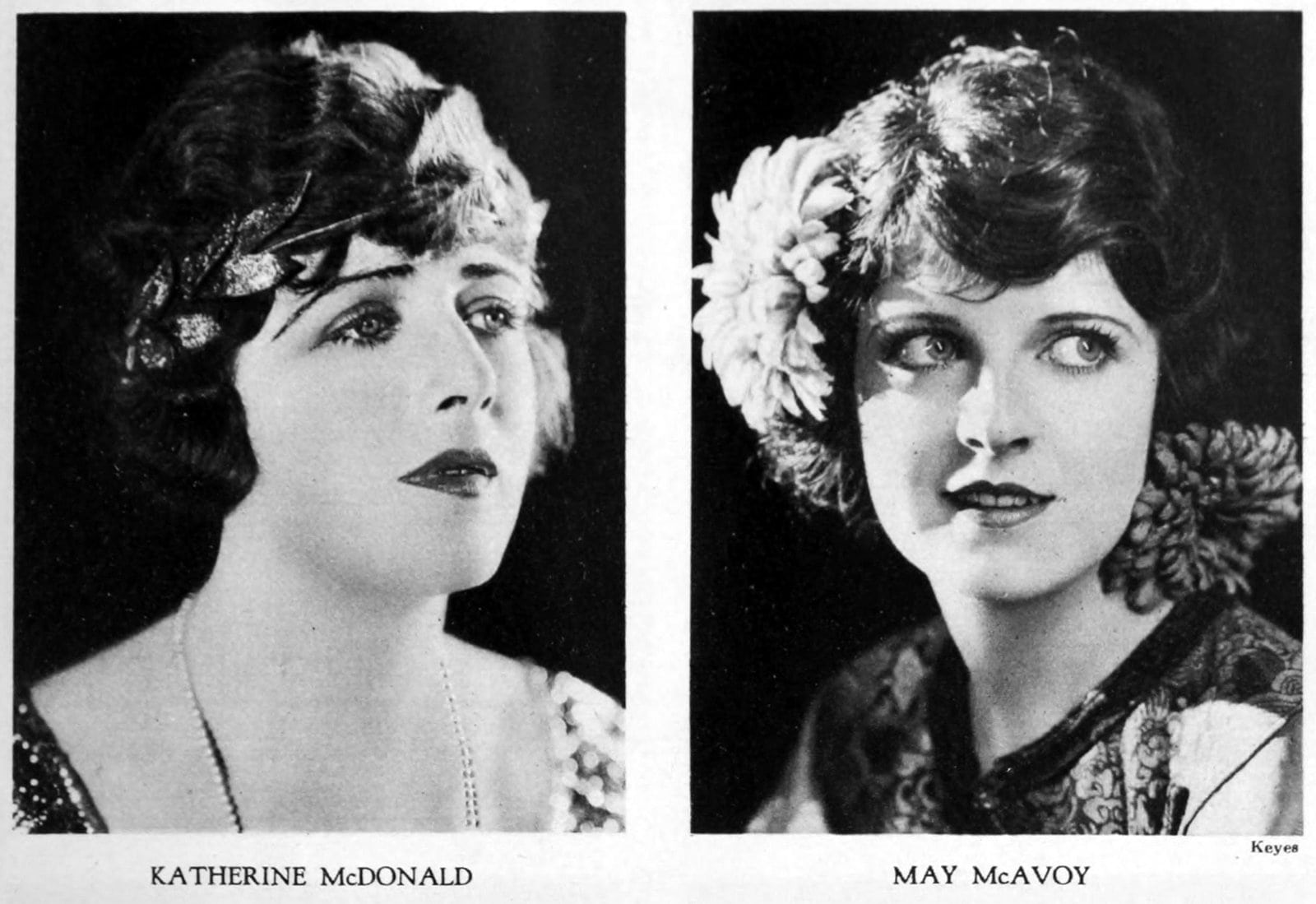 Vintage 1920s hairstyles for women - actresses Katherine McDonald and May McAvoy