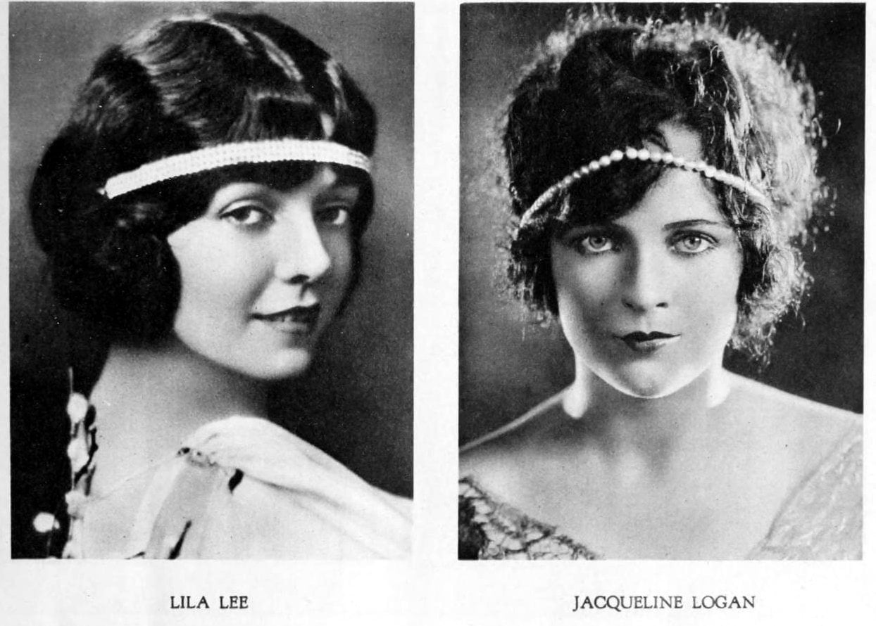 Vintage 1920s hairstyles for women - actresses Lila Lee and Jacqueline Logan