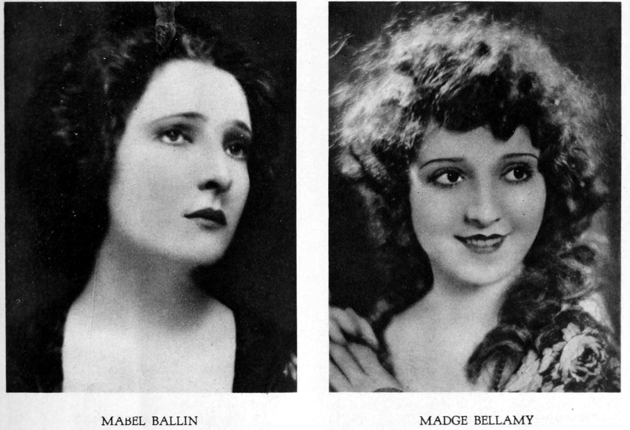 Vintage 1920s hairstyles for women - actresses Mabel Ballin and Madge Bellamy