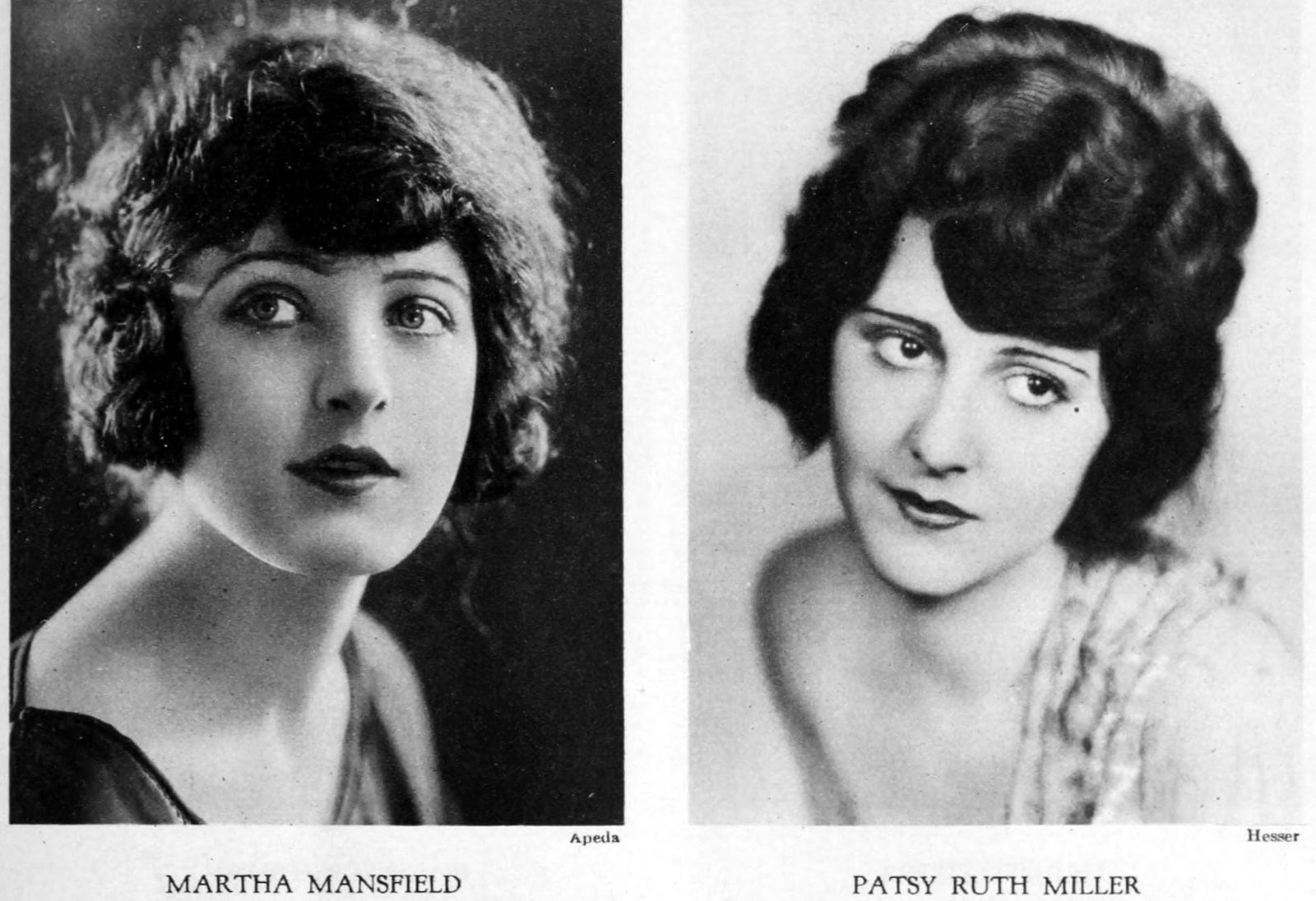 Vintage 1920s hairstyles for women - actresses Martha Mansfield and Patsy Ruth Miller