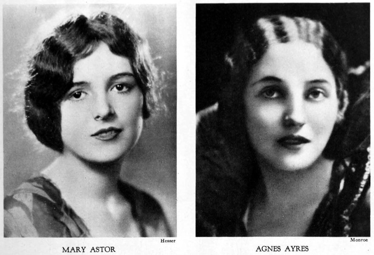 Vintage 1920s hairstyles for women - actresses Mary Astor and Agnes Ayres