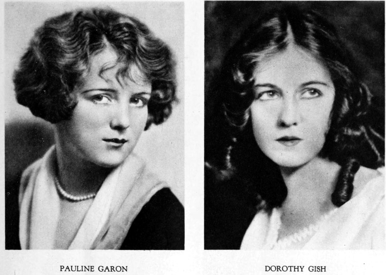 Vintage 1920s hairstyles for women - actresses Pauline Garon and Dorothy Gish